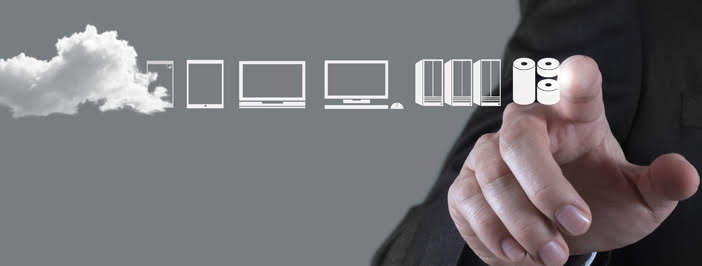 Man accessing a cloud backup with his finger.