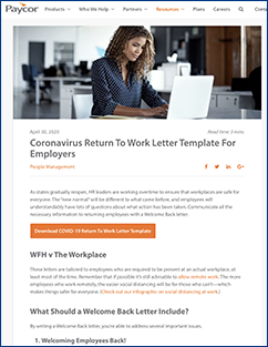 COVID-19 Return to Work Paycor Template