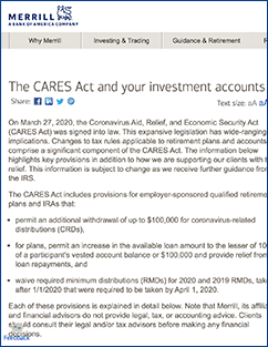 Merrill Lynch Cares Act article