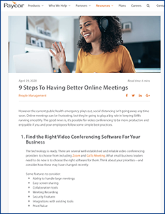 9 Steps to Better Meetings from Paycor