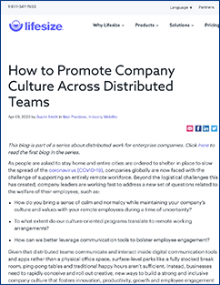 Promoting Company Culture article from Lifesize