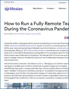 Running a Fully Remote Team article from Lifesize