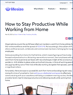 Productivity at Home article from Lifesize