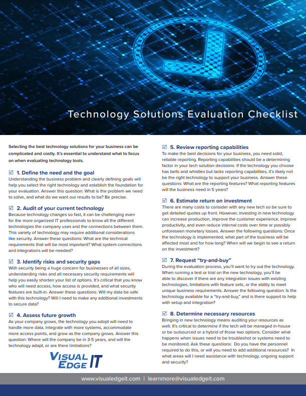 Technology Solutions Evaluation Checklist