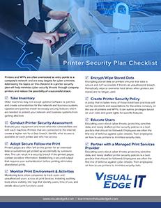 Printer Security Plan Checklist